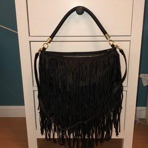 Black H&M faux leather tassel bag